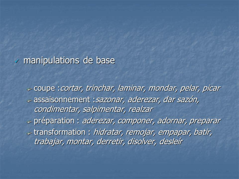 manipulations de base coupe :cortar, trinchar, laminar, mondar, pelar, picar.