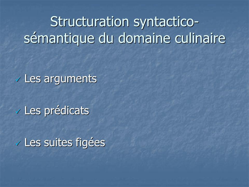 Structuration syntactico-sémantique du domaine culinaire