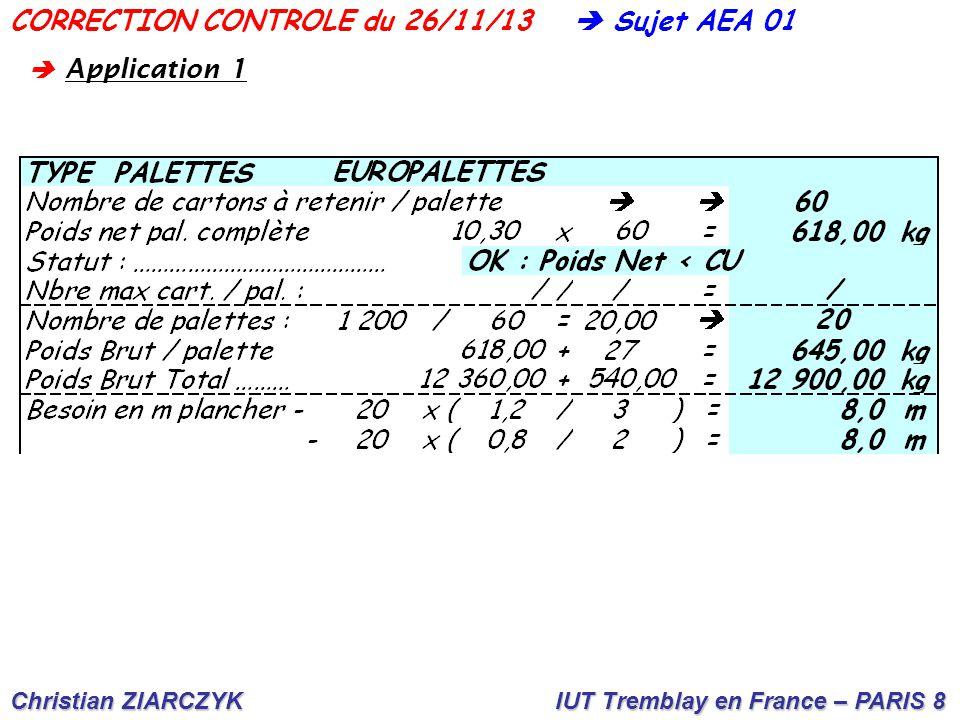 CORRECTION CONTROLE du 26/11/13  Sujet AEA 01