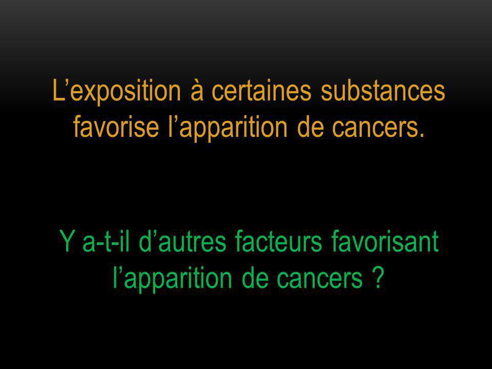 L'exposition à certaines substances favorise l'apparition de cancers.