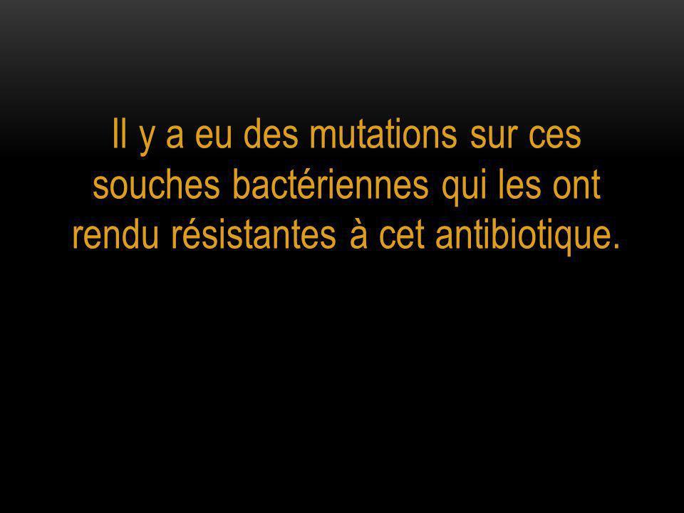 Il y a eu des mutations sur ces souches bactériennes qui les ont rendu résistantes à cet antibiotique.