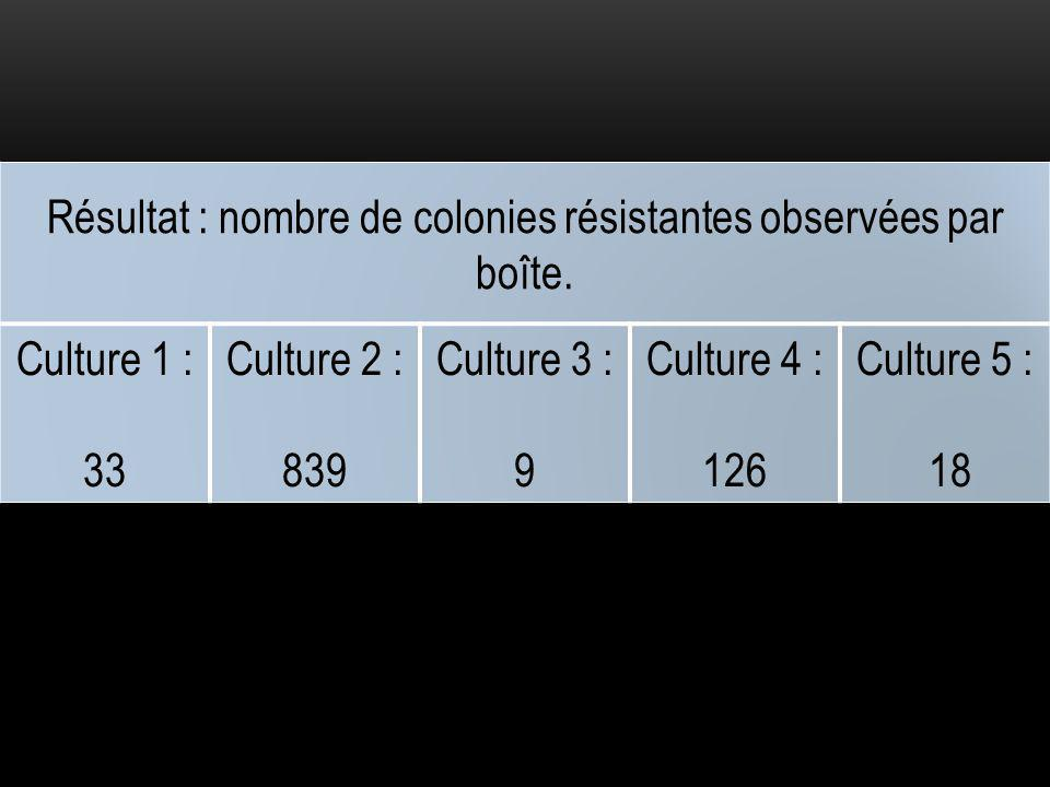Résultat : nombre de colonies résistantes observées par boîte.