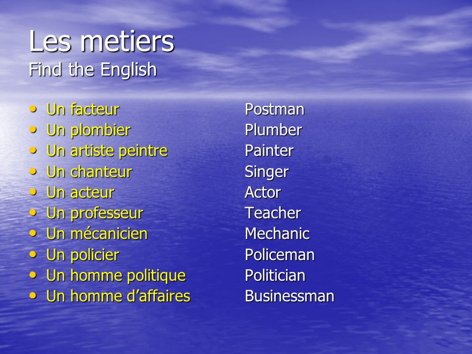 Les metiers Find the English
