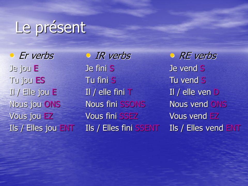 Le présent Er verbs IR verbs RE verbs Je jou E Tu jou ES