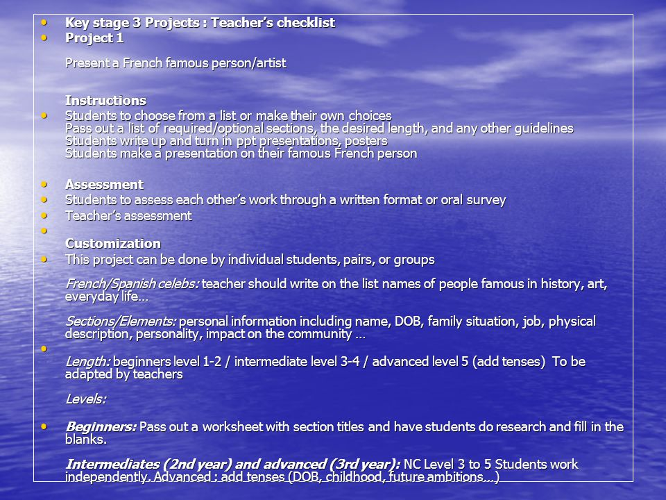 Key stage 3 Projects : Teacher's checklist