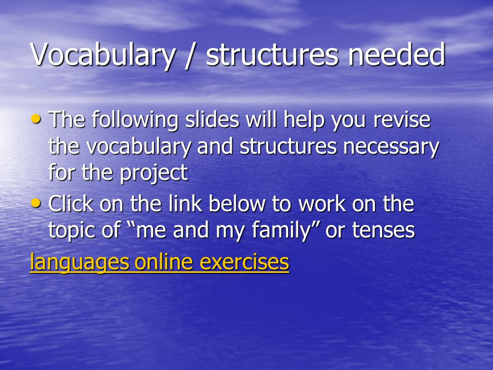 Vocabulary / structures needed