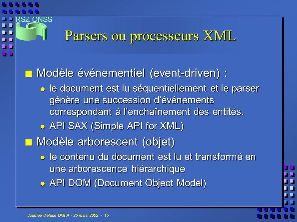 Parsers ou processeurs XML
