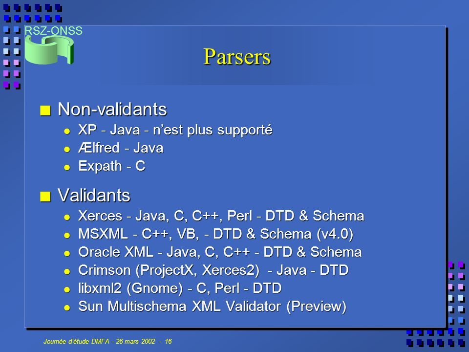 Parsers Non-validants Validants XP - Java - n'est plus supporté