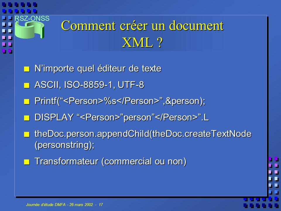 Comment créer un document XML