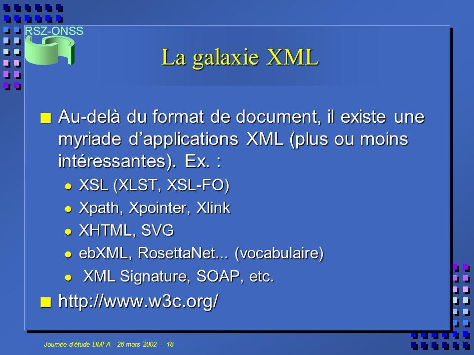 La galaxie XML Au-delà du format de document, il existe une myriade d'applications XML (plus ou moins intéressantes). Ex. :