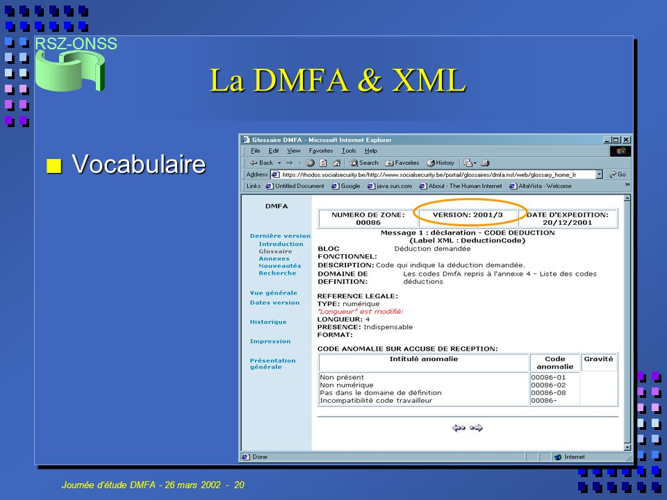 La DMFA & XML Vocabulaire