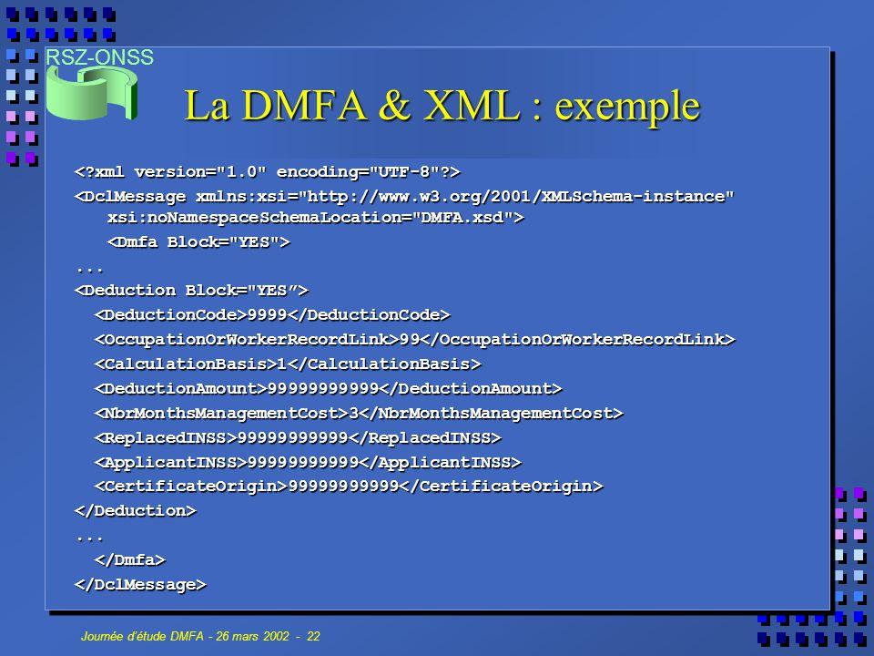 La DMFA & XML : exemple < xml version= 1.0 encoding= UTF-8 >