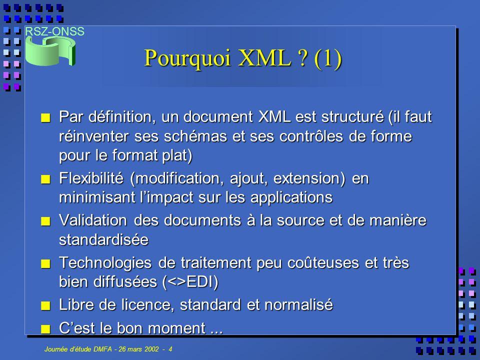 Pourquoi XML (1) Par définition, un document XML est structuré (il faut réinventer ses schémas et ses contrôles de forme pour le format plat)