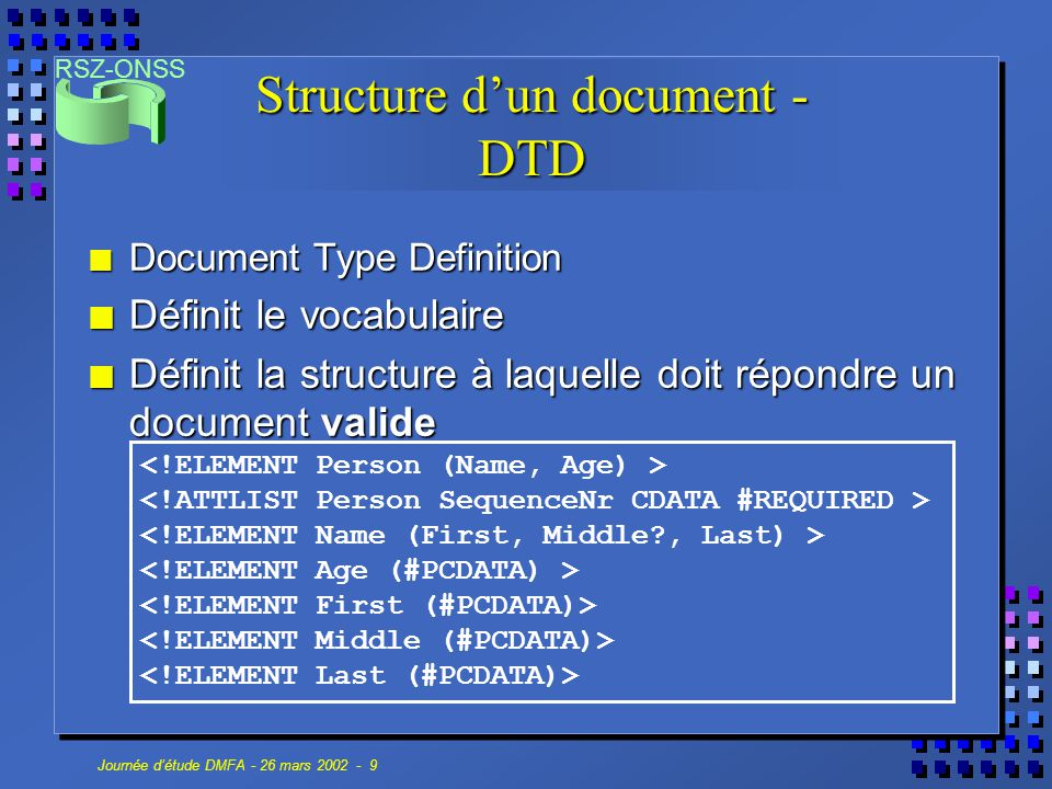 Structure d'un document - DTD
