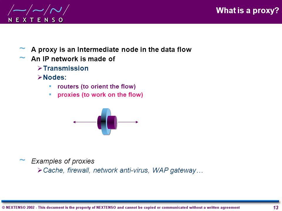 What is a proxy A proxy is an Intermediate node in the data flow