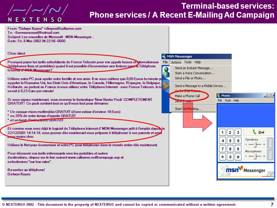 Terminal-based services: Phone services / A Recent E-Mailing Ad Campaign