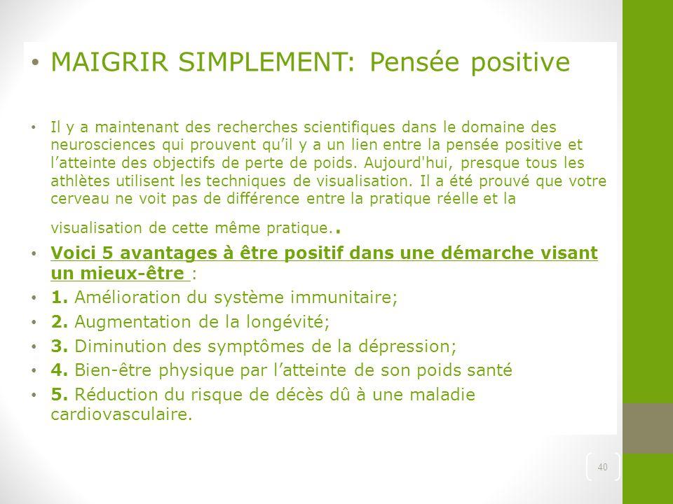MAIGRIR SIMPLEMENT: Pensée positive