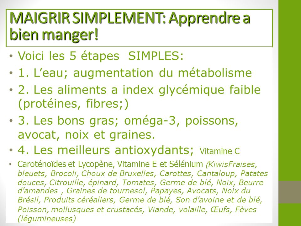 MAIGRIR SIMPLEMENT: Apprendre a bien manger!