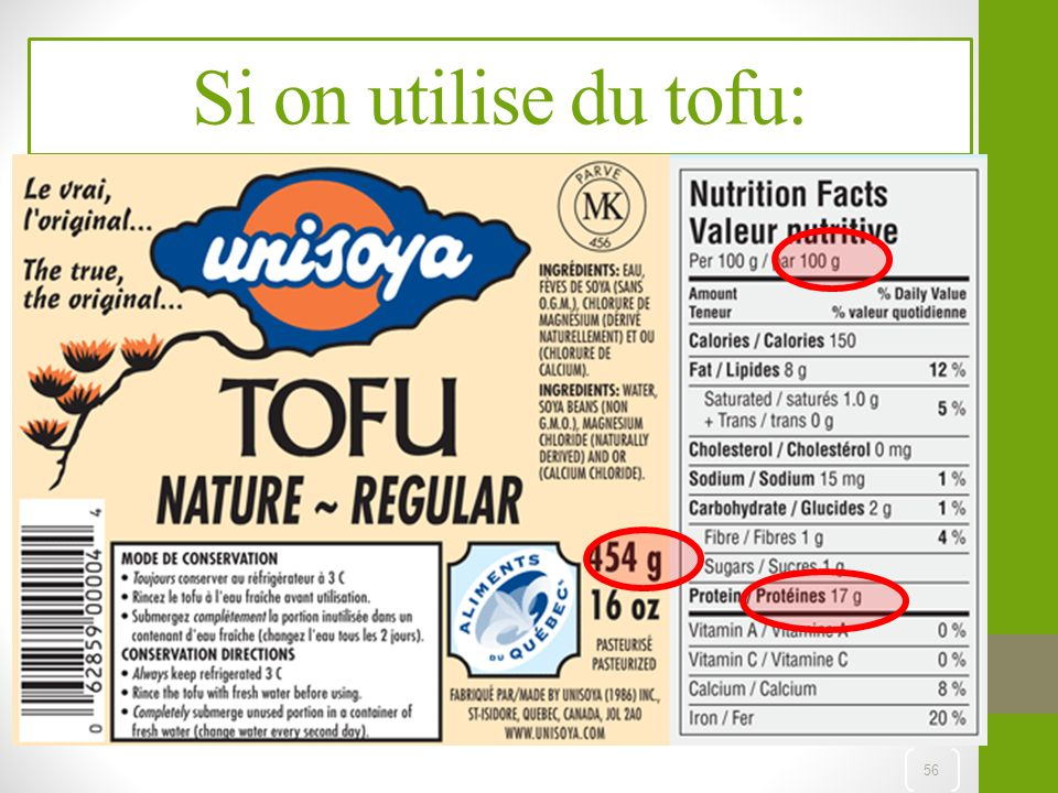 Si on utilise du tofu: