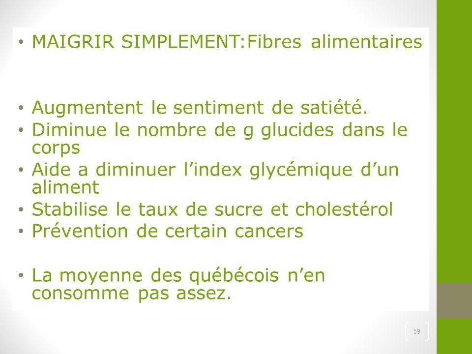 MAIGRIR SIMPLEMENT:Fibres alimentaires