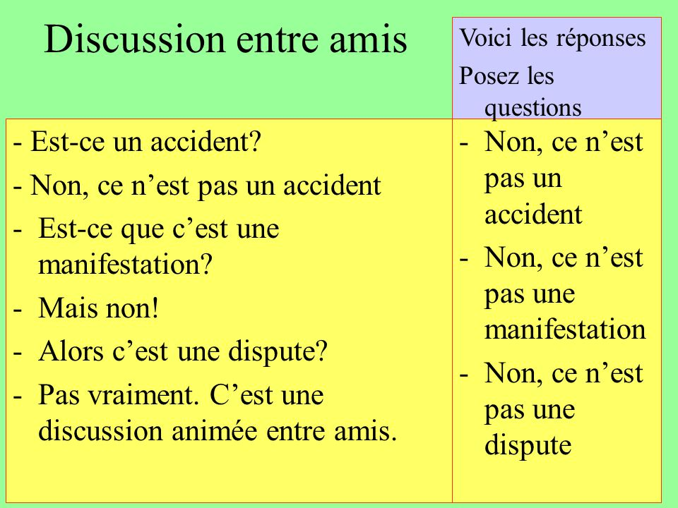 Discussion entre amis - Est-ce un accident
