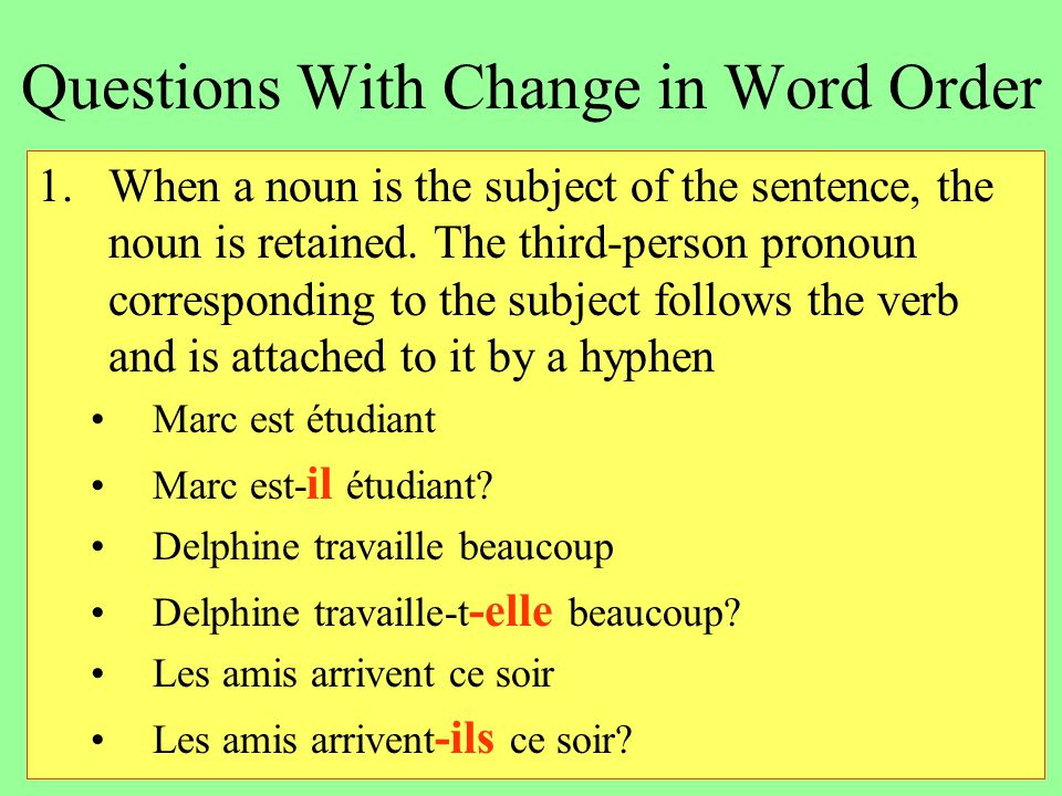 Questions With Change in Word Order