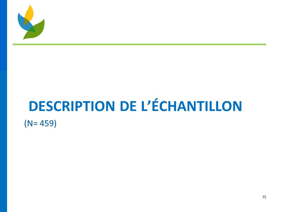 DESCRIPTION DE L'ÉCHANTILLON