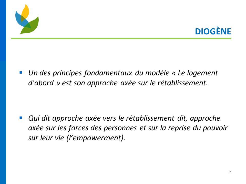 DIOGÈNE Un des principes fondamentaux du modèle « Le logement d'abord » est son approche axée sur le rétablissement.