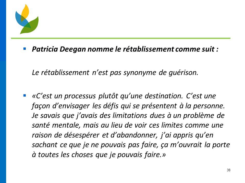 Patricia Deegan nomme le rétablissement comme suit :