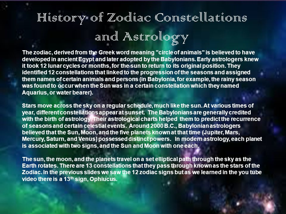 History of Zodiac Constellations