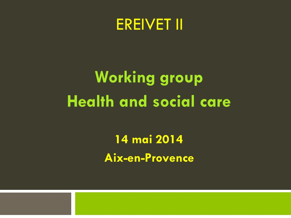 Working group Health and social care
