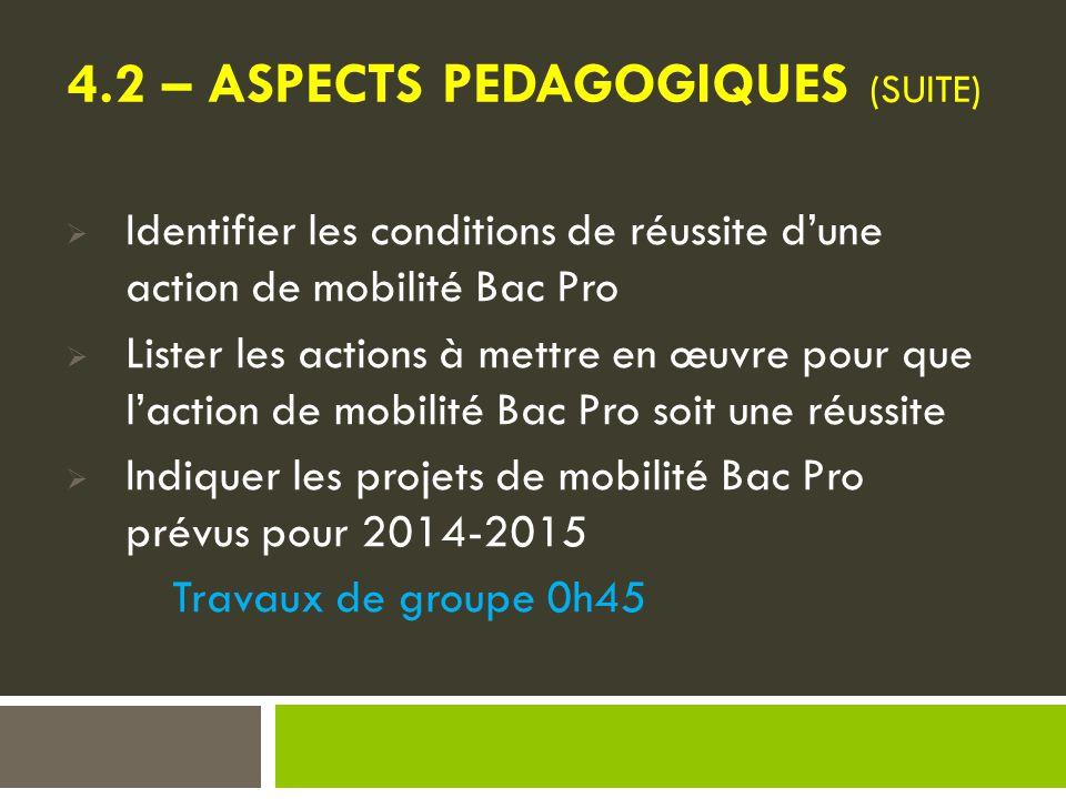 4.2 – ASPECTS PEDAGOGIQUES (suite)