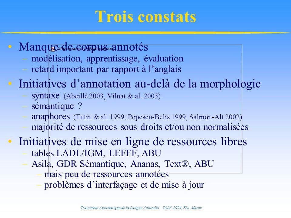 Trois constats Manque de corpus annotés