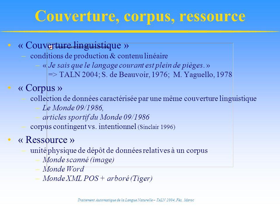 Couverture, corpus, ressource