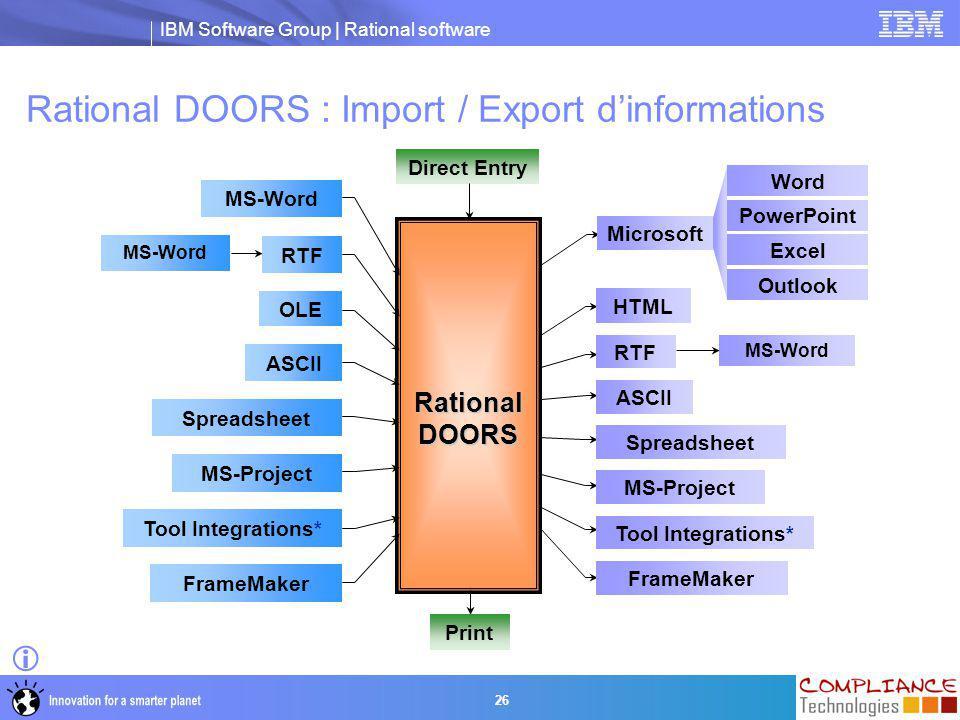 Rational DOORS : Import / Export d'informations