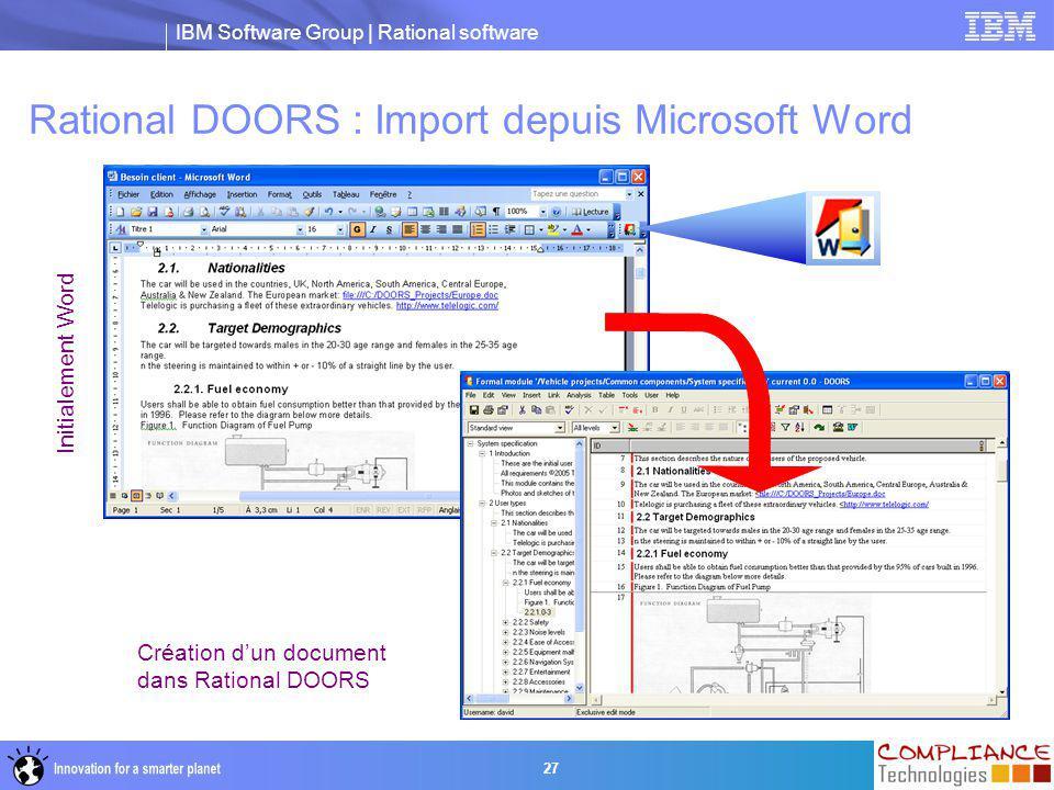 Rational DOORS : Import depuis Microsoft Word