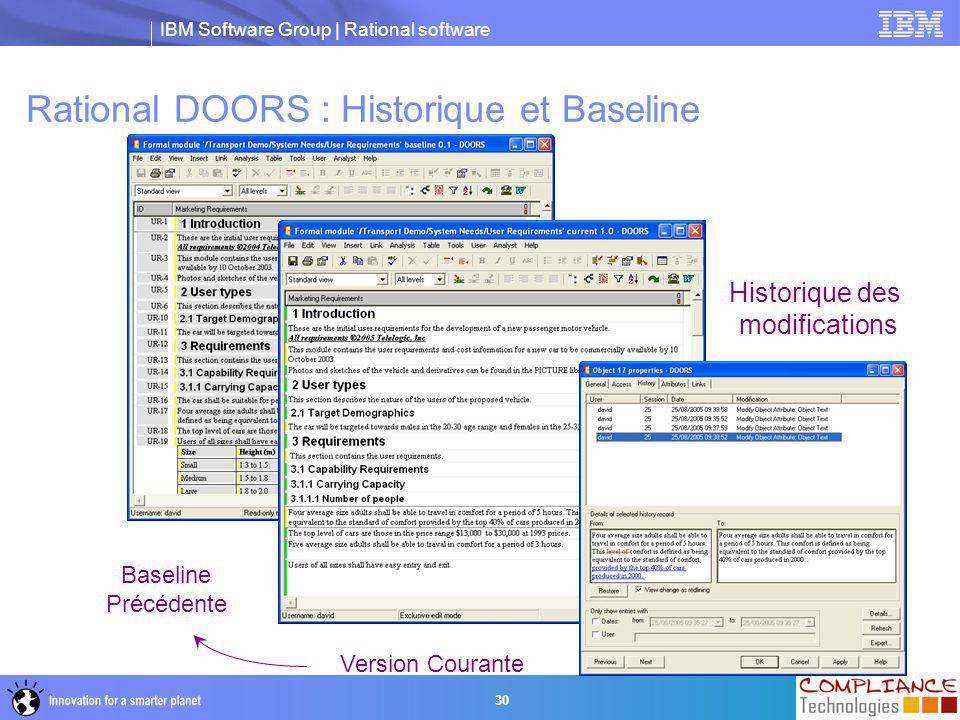 Rational DOORS : Historique et Baseline