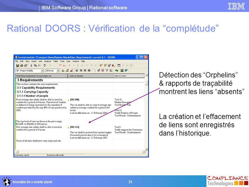 Rational DOORS : Vérification de la complétude