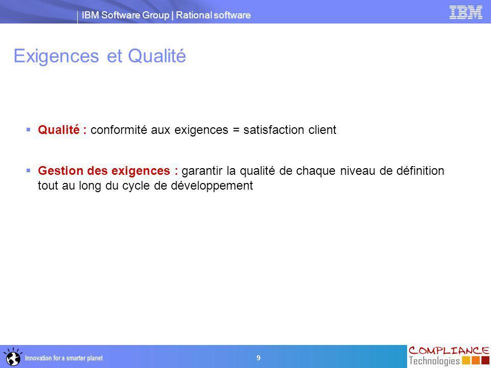 Exigences et Qualité Qualité : conformité aux exigences = satisfaction client.