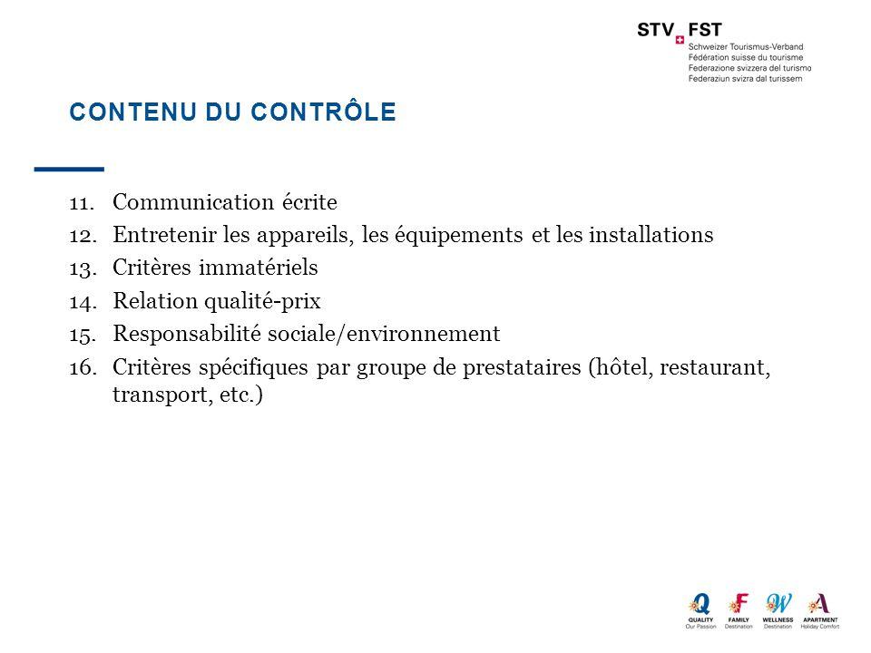 Contenu du contrôle 11. Communication écrite