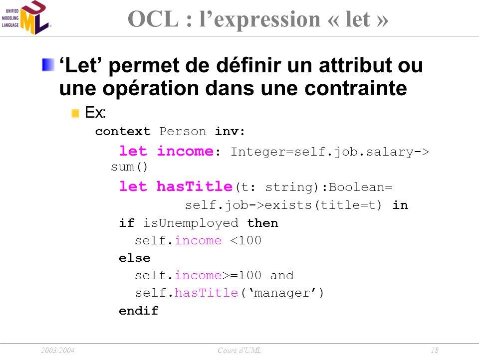OCL : l'expression « let »