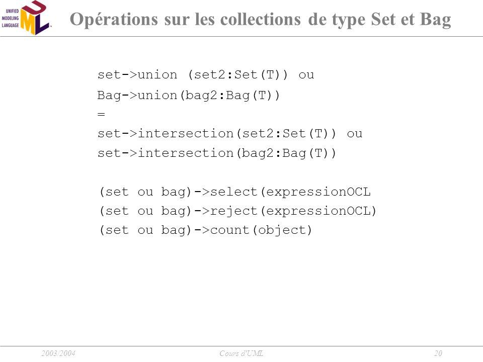 Opérations sur les collections de type Set et Bag