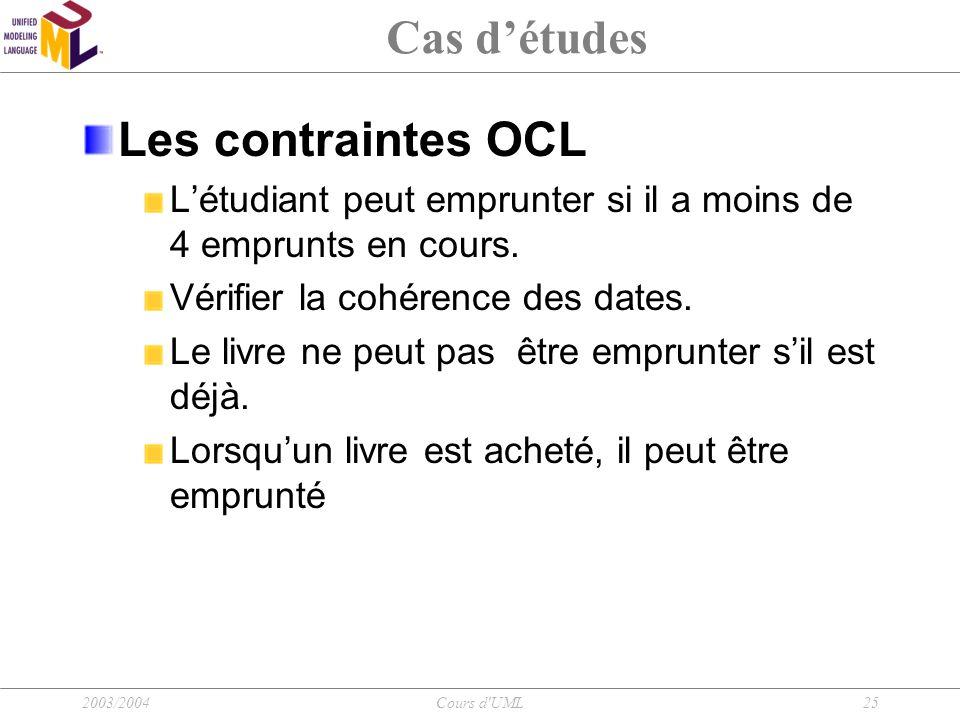 Cas d'études Les contraintes OCL