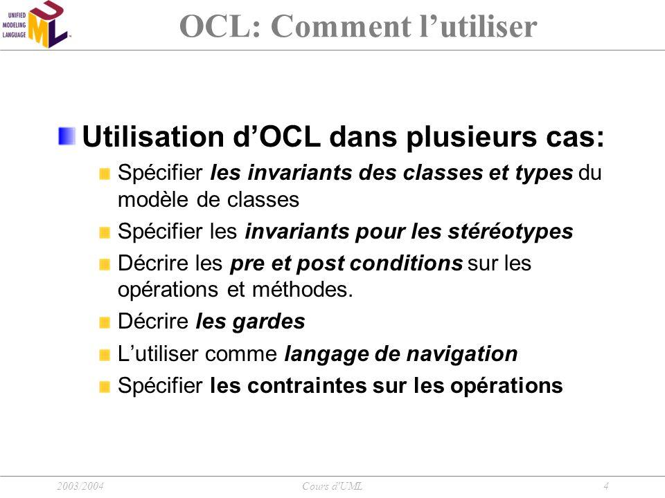 OCL: Comment l'utiliser