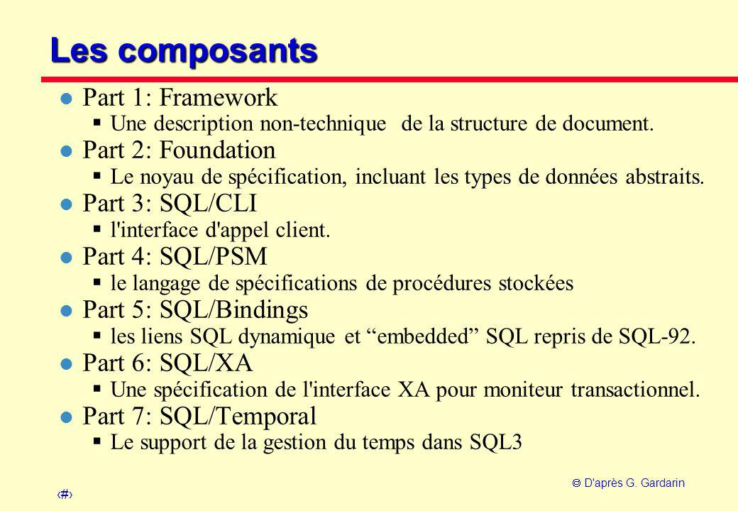 Les composants Part 1: Framework Part 2: Foundation Part 3: SQL/CLI