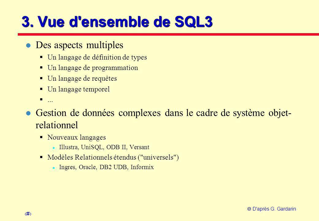 3. Vue d ensemble de SQL3 Des aspects multiples
