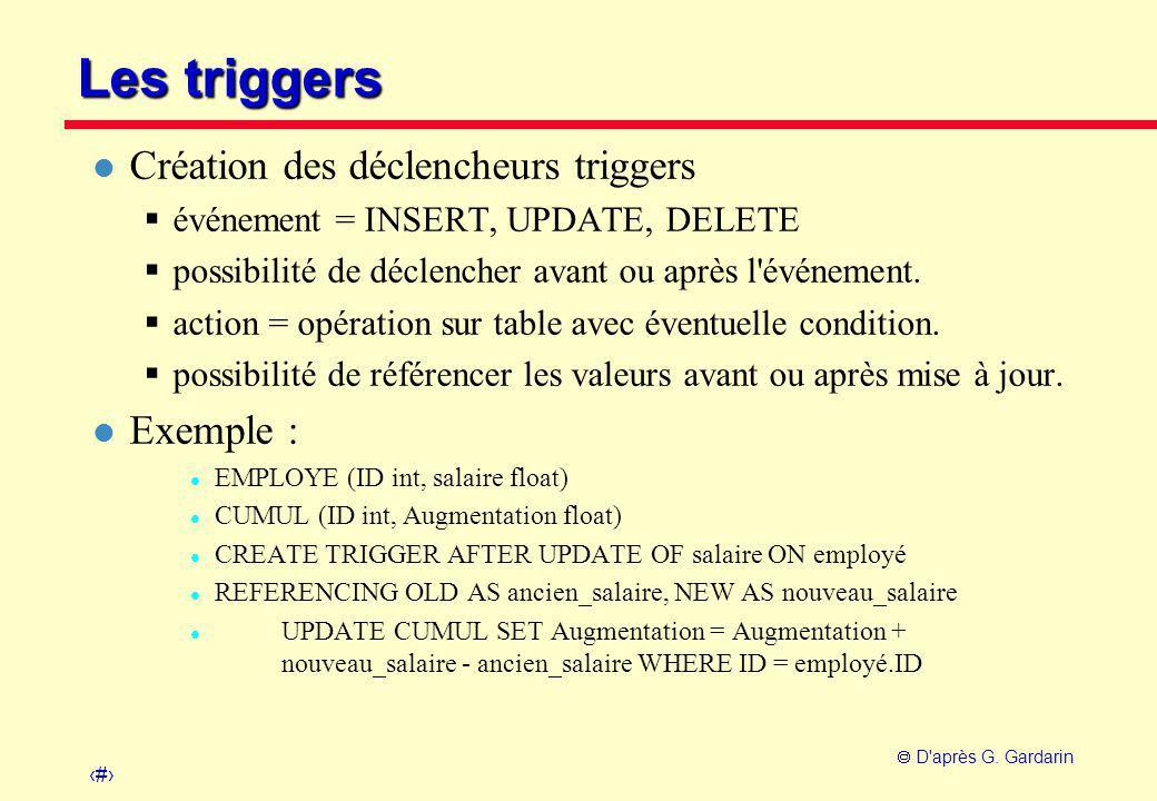 Les triggers Création des déclencheurs triggers Exemple :