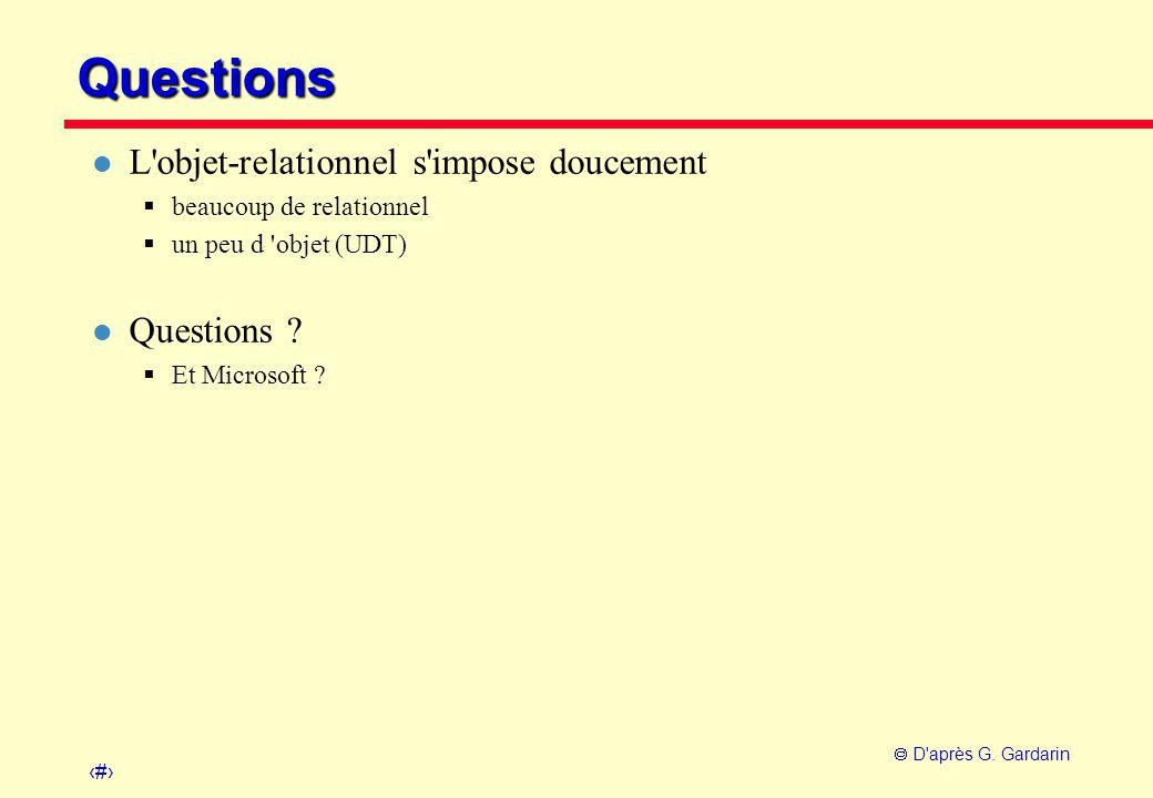 Questions L objet-relationnel s impose doucement Questions