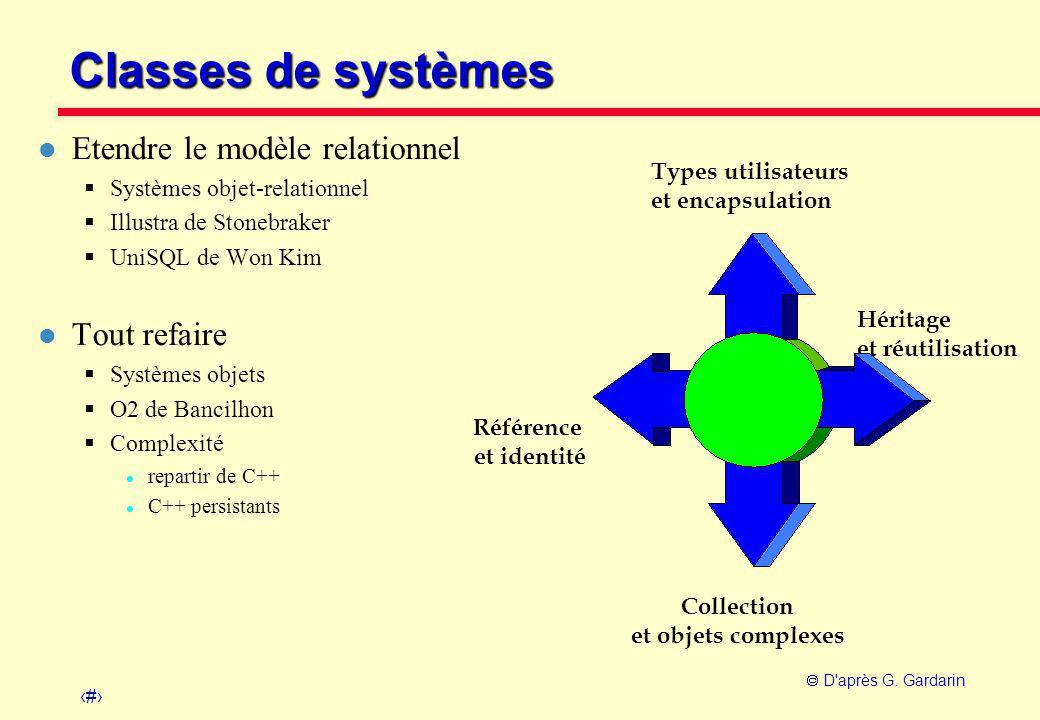 Classes de systèmes Etendre le modèle relationnel Tout refaire
