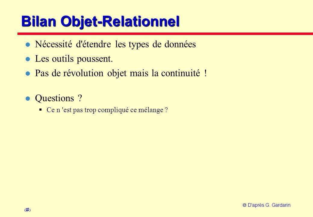 Bilan Objet-Relationnel